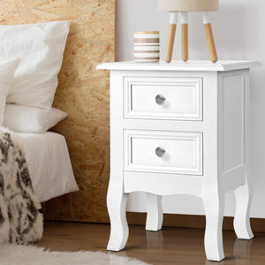 Bedside Table French Provincial Style Nightstand Side Lamp Cabinet White - Afterpay - Zip Pay - Free Shipping - Dodosales -