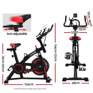 Exercise Spin Bike Flywheel Cycling Fitness Commercial Home Gym Workout BONUS Phone Holder - Black - Afterpay - Zip Pay - Free Shipping - Dodosales -
