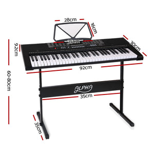 61 Key Lighted Electronic Piano Keyboard LED Electric Holder Music Stand Black