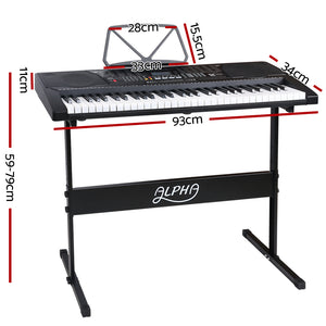 61 Key Lighted Electronic Piano Keyboard EK91 Electric Music Stand Microphone Input Black