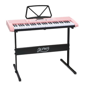 61 Key Lighted Electronic Piano Keyboard Organ LED Electric Holder Music Stand Pink