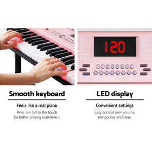 61 Key Lighted Electronic Piano Keyboard Organ LED Electric Holder Music Stand Pink - Afterpay - Zip Pay - Free Shipping - Dodosales -