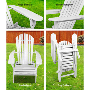 Wooden Outdoor Beach Chair Adirondack Style Armchair with Ottoman - White