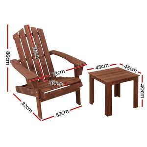 3PC Outdoor Setting Pool Chairs Table Wooden Adirondack Lounge Garden - Afterpay - Zip Pay - Free Shipping - Dodosales -