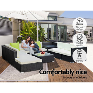 11 Pc Modular Outdoor Setting Sofa Lounge Set Patio Furniture Wicker Black Storage Cover