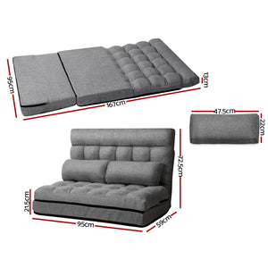 Floor Chair Lounge Sofa Bed Seater Folding Seating Mattress Fabric Grey - Afterpay - Zip Pay - Free Shipping - Dodosales -