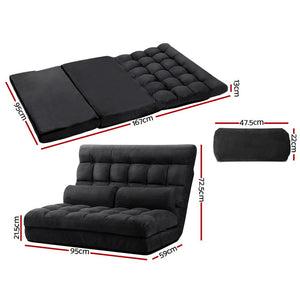 Floor Chair Lounge Sofa Bed 2-seater Folding Gaming Seat Chair Suede Charcoal - Afterpay - Zip Pay - Free Shipping - Dodosales -