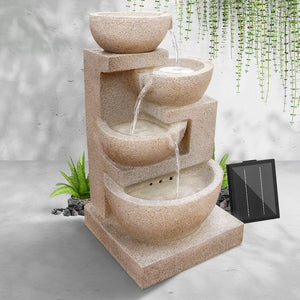 Beige 4 Tier Solar Powered Water Fountain with Light Cascading Water Garden Decor - Afterpay - Zip Pay - Free Shipping - Dodosales -