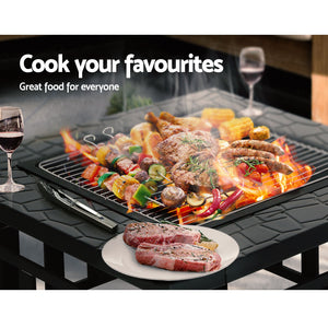 Outdoor Fire Pit BBQ Table Firepit Fireplace Barbeque Grill Stone Design - Afterpay - Zip Pay - Free Shipping - Dodosales -