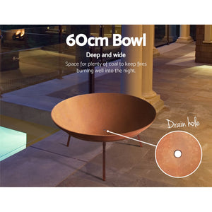 z Iron Bowl Rustic Fire Pit Heater Charcoal Outdoor Patio Wood Fireplace Heating 60CM