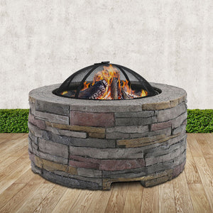 Fire Pit Outdoor Table Charcoal Heating Fireplace Garden Firepit Heater