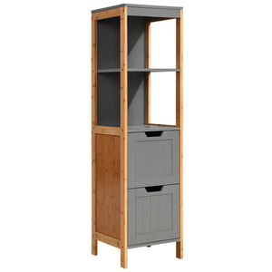 Two Tone Bathroom Tallboy Storage Cabinet Cupboard Shelves Kitchen Grey - Afterpay - Zip Pay - Free Shipping - Dodosales -