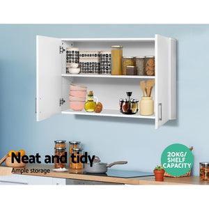 White Cabinet Two Doors Chest Storage Unit Wall Mounted Bathroom Kitchen Laundry - Afterpay - Zip Pay - Free Shipping - Dodosales -