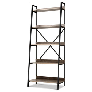 5 Tier Book Shelf Display Unit Shelves Wood Metal Stand Hollow Storage