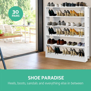 White Shoe Rack Unit 6 Tier Storage Fits Up to 30 Pairs Of Shoes Display Bookcase White - Afterpay - Zip Pay - Free Shipping - Dodosales -