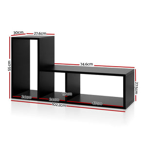 Display Shelf Do It Yourself Combination L Shape Unit Shelving Stand Black - Afterpay - Zip Pay - Free Shipping - Dodosales -