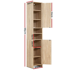 185cm Bathroom Tallboy Toilet Storage Cabinet Laundry Cupboard Adjustable Shelf Oak Colour - Afterpay - Zip Pay - Free Shipping - Dodosales -