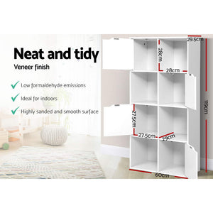 Display Shelf 8 Cube Storage 4 Door Cabinet Organiser Bookshelf Unit White - Afterpay - Zip Pay - Free Shipping - Dodosales -