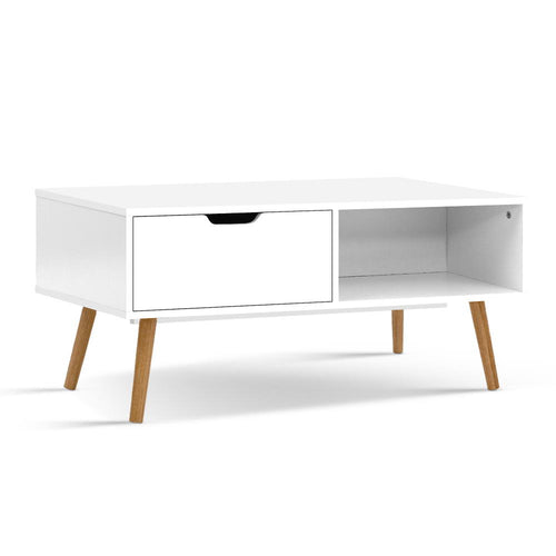 Wooden Scandinavian Look Coffee Table Storage Open Shelf Side White - Afterpay - Zip Pay - Free Shipping - Dodosales -