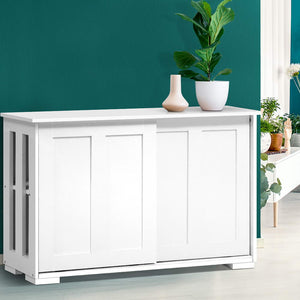 Buffet Sideboard Cabinet White Doors Storage Shelf Cupboard Hallway Table White - Afterpay - Zip Pay - Free Shipping - Dodosales -