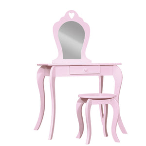Kids Dressing Table Stool Set Mirror Drawer Children Vanity Makeup Pink
