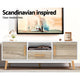 Wooden Entertainment Unit TV Stand Cabinet Cupboard - White & Wood - Afterpay - Zip Pay - Free Shipping - Dodosales -