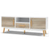 Wooden Entertainment Unit TV Stand Cabinet Cupboard - White & Wood
