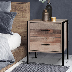Industrial Look Bedside Table Drawers Nightstand Metal Oak Side Table - Afterpay - Zip Pay - Free Shipping - Dodosales -