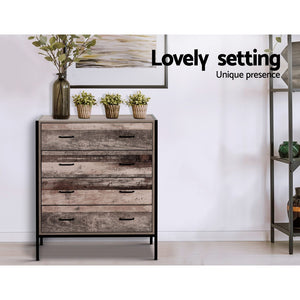 Industrial Rustic Look Chest of Drawers Tallboy Dresser Storage Cabinet 4 drawer - Afterpay - Zip Pay - Free Shipping - Dodosales -