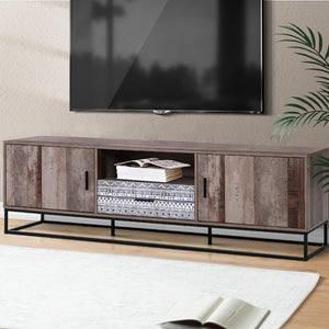 TV Stand Entertainment Unit Storage Cabinet Industrial Rustic Wooden 1.8M - Afterpay - Zip Pay - Free Shipping - Dodosales -