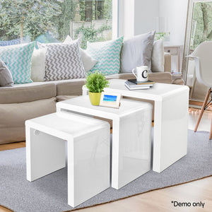 High Gloss White Set of 3 Nesting Tables Coffee Side - Afterpay - Zip Pay - Free Shipping - Dodosales -