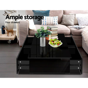 High Gloss Modern Coffee Table 4 Storage Drawers Living Room Furniture Black - Afterpay - Zip Pay - Free Shipping - Dodosales -