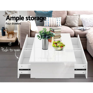 High Gloss Modern Coffee Table 4 Storage Drawers Living Room Furniture White - Afterpay - Zip Pay - Free Shipping - Dodosales -