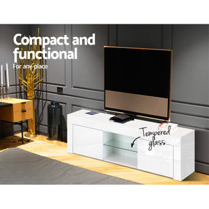 130cm High Gloss Front TV Stand Entertainment Unit Storage Cabinet Tempered Glass Shelf White - Afterpay - Zip Pay - Free Shipping - Dodosales -