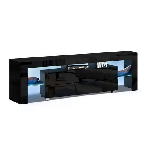 160cm RGB LED TV Stand Cabinet Entertainment Unit Gloss Furniture Drawer Black