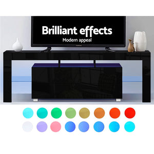 160cm RGB LED TV Stand Cabinet Entertainment Unit Front Gloss Furniture Drawer Black