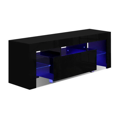 130cm High Gloss TV Stand Entertainment Unit RGB LED Storage Cabinet Tempered Glass Shelf Black - Afterpay - Zip Pay - Free Shipping - Dodosales -