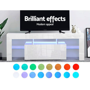 130cm RGB LED TV Stand Cabinet Entertainment Unit Gloss Furniture Drawer - Afterpay - Zip Pay - Free Shipping - Dodosales -