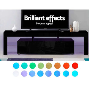 RGB LED TV Stand Cabinet Entertainment Unit 189cm Gloss Furniture Drawers Tempered Glass Shelf Black - Afterpay - Zip Pay - Free Shipping - Dodosales -