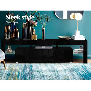 RGB LED TV Stand Cabinet Entertainment Unit 189cm Front Gloss Furniture Drawers Tempered Glass Shelf Black - Afterpay - Zip Pay - Free Shipping - Dodosales -