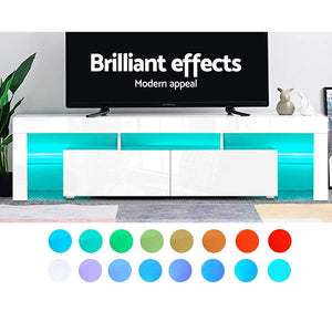 189cm High Gloss Front TV Stand Cabinet Entertainment Unit RGB LED Light Drawers White - Afterpay - Zip Pay - Free Shipping - Dodosales -