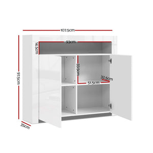 Buffet Sideboard Cabinet LED Storage Cupboard Unit 2 High Gloss Doors White - Afterpay - Zip Pay - Free Shipping - Dodosales -