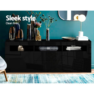 160cm RGB LED TV Stand Cabinet Entertainment Unit Front Gloss Black Furniture Storage
