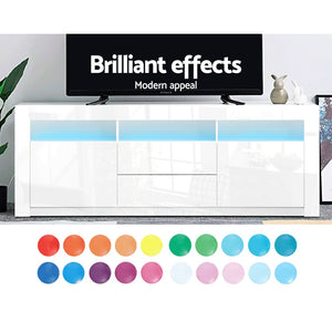 160cm RGB LED TV Stand Cabinet Entertainment Unit Front Gloss White Furniture Storage