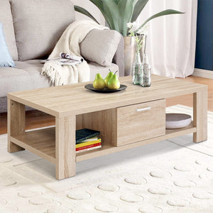 Coffee Table Oak Colour Storage Drawer Open Shelf Wooden - Afterpay - Zip Pay - Free Shipping - Dodosales -