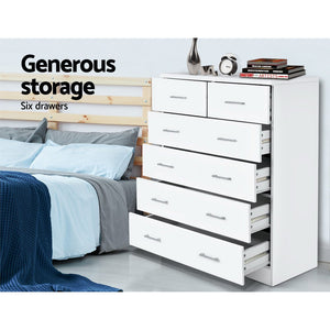 Chest Of drawer 6 Drawers Tallboy Storage Bedroom Furniture White - Afterpay - Zip Pay - Free Shipping - Dodosales -