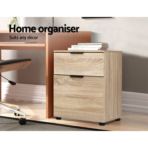 Office Filing Cabinet 2 Drawer Storage Home Study Cupboard Wood - Afterpay - Zip Pay - Free Shipping - Dodosales -