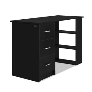 120cm Office Computer Desk Student Study Table Workstation 3 Drawers Shelf Storage - Black - Afterpay - Zip Pay - Free Shipping - Dodosales -