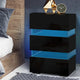 High Gloss Front Bedside Table Nightstand 3 Drawers RGB LED Black