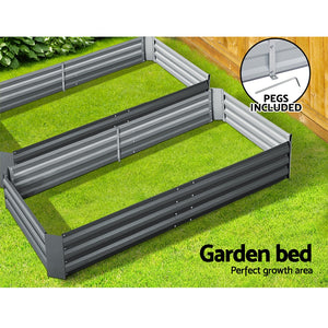 2x Galvanised Raised Garden Bed Garden Planter Pot 210cm x 90cm Grey - Afterpay - Zip Pay - Free Shipping - Dodosales -